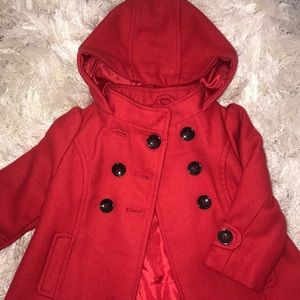 Kids wool hooded, ruffle back, pea coat
